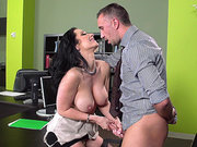 Horny secretary Jayden Jaymes playing with his balls and sucking his pole