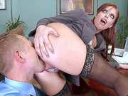 Redhead business woman Britney Amber ass licked by her employee