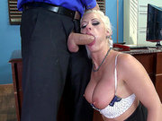 Blondie Holly Heart sucking dick on her office table