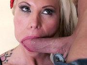 Lolly Ink deepthroats huge cock with no hands