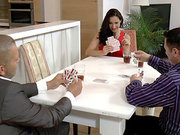 Raven babe Martina Gold plays strip poker and loses badly