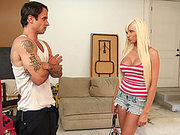 Rikki Six maintains eyecontact then drops on her knees and swallows his cock