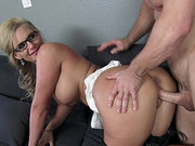 Phoenix Marie happily takes his prick doggy style