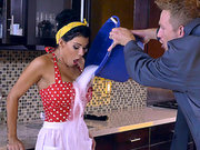Busty housewife Peta Jensen gets her tits groped in the kitchen