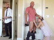 Cheating bride Jenni Lee sucks dick of the wedding photographer