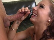 Juicy Pearl gets her mouth filled with a great load of sperm
