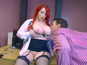 Pale big tits redhead Harmony Reigns seduced by her horny boss