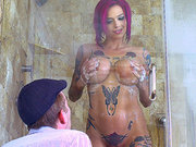 Tattooed redhead mom Anna Bell Peaks toys and teases Danny D