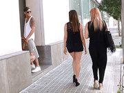 Spanish slut Jimena Lago sucks dick off in public