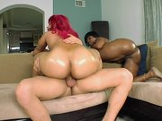Cherokee D Ass and Pinky rides fat cock in threesome