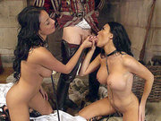 Two busty brunette babes Anissa Kate and Jasmine Jae sucking deepthroat