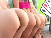 Mischa Brooks, Bailey Blue and Cameron Canada demonstrating their asses