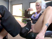 Bimbo business woman Holly Heart gets dildoed during a meeting