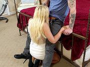 Kagney Linn Karter in a tight dress giving him deep throat BJ
