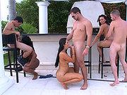Rachel Starr, Valerie Kay and Cherie Magic fucking three lucky SOBs outdoor