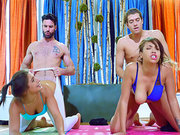 Yoga babes Bella Danger and Cassidy Banks get fucked doggystyle