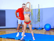 Gym blonde Marsha May flaunts big tits and teases trainer