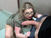 Sunny Lane sucking big cock right there in the toilet