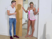 Cute Hungarian blonde Christen Courtney teases a cute guy