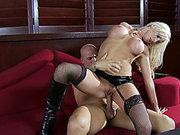 Nadia Hilton high heels jumps on his cock
