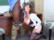 Stockings clad teacher Sara Jay sucks her principal's big black cock