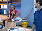 Busty schoolgirl Abigail Mac discovered masturbating by the janitor