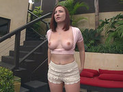 Amazing redhead Sophia Locke shows her sweet ass off outside