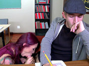 Redhead mom Monique Alexander helps a student out with a bj