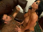 Jewels Jade gets sprayed with oil and anally rides big cock