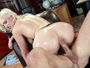 Oiled up blonde bombshell Jenna Ivory getting her ass slammed