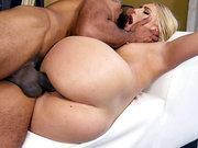 Big ass blonde Kaylee Evans gets spoon fucked by black lover in bed