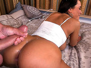 Lisa Ann ass fucked and cummed on her back