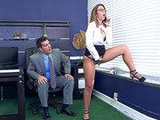 Nerdy secretary Layla London gets caught having phone sex