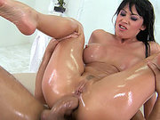 Eva Karera plants her ass on his dick and rides anal reverse cowgirl