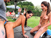 Trinity St. Clair and Lizz Tayler fucking him on the outdoor party