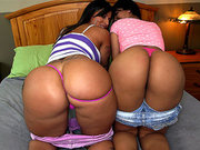 Spicy J and Rose Monroe showing their phat asses