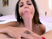 Ava Addams sucked that enormous shaved cock
