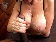 Sara Jay sucked the dick until he busted a huge load on her tits