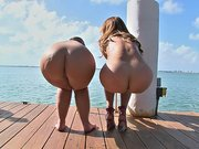 Monique Fuentes and Lexxxi Lockhart showing their asses at the dock