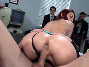 Monique Alexander takes it in her both holes at work