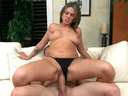 Hot cutie Nella Jay rides rock hard cock reverse cowgirl style