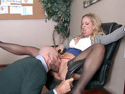 Blonde boss Cherie DeVille gets her milf pussy licked in a chair