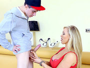 Stepson gets sucked off by his big tits blonde mom Rebecca More