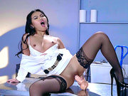 Asian babe Cindy Starfall pussy dildoing in a janitor's closet