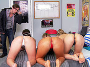 Bailey Blue, Lola Foxx and Cameron Dee getting their asses worshipped