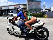 Sophia Steele riding bike and flashing her booty