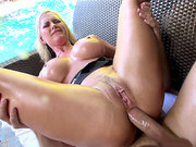 Alena Croft endures deep and painfull anal penetration