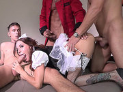 Gia DiMarco gets fucked by three big cocks