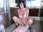 Brunette mom Veronica Avluv bouncing on a young guys dreamy dick