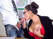 Sensual Jane seduced her student and sucked his cock